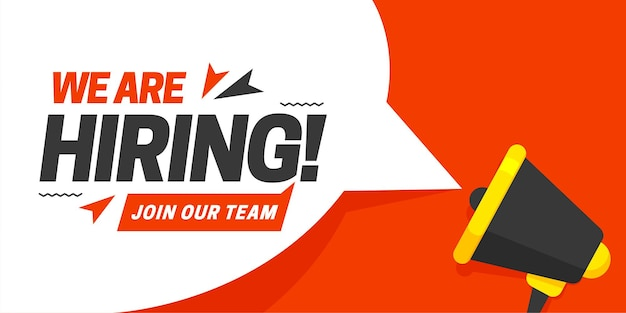Megaphone with speech bubble and we are hiring join our team announcement lettering on it