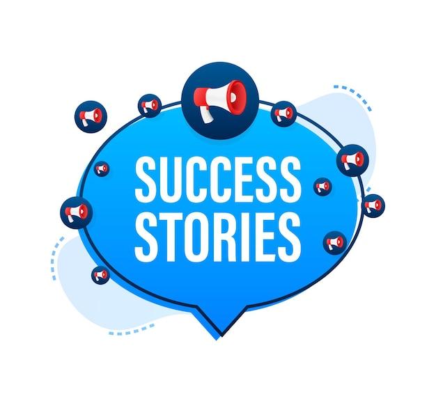 Megaphone with success stories. megaphone banner. vector illustration.