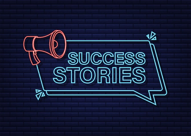 Megaphone with success stories. neon style. vector stock illustration.
