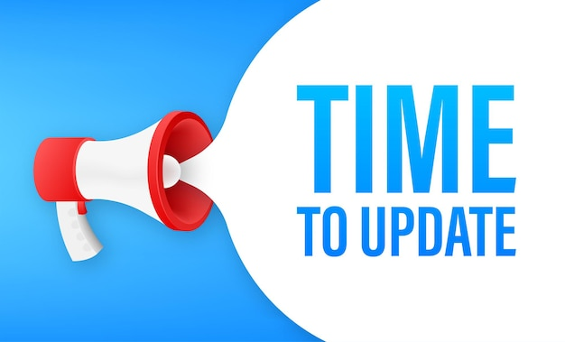Megaphone with time to update. megaphone banner. web design.