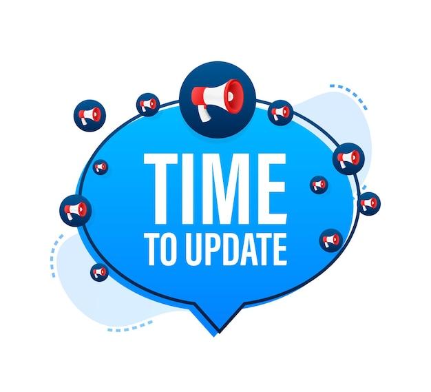 Megaphone with time to update sign. megaphone banner. web design. vector illustration.