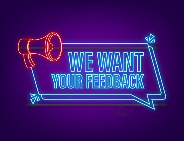 Megaphone with we want your feedback megaphone banner web design