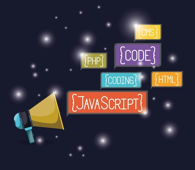 Webプログラミング言語コード付きメガホン
