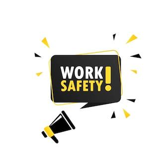 労働安全スピーチバブルバナー付きメガホン。スピーカー。ビジネス、マーケティング、広告に使用できます。ベクトルeps10。白い背景で隔離。