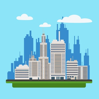 Megapolis landscape with modern buildings of big city