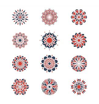 Mehendiとアラビアの円形パターン。イスラム風の幾何学的なロゴデザイン