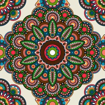 インドのmehendi花柄シームレスな色付きの背景