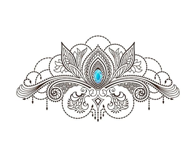 Менди татуировка хной с цветочным узором на груди у девушки