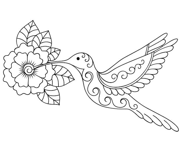 민족 동양, 인도 스타일의 멘디 꽃과 새 장식. 낙서 장식. 개요 손으로 그리는 그림.