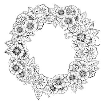 Mehndi flower decoration. decorative ornament in ethnic oriental style. coloring page.