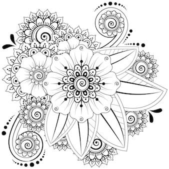 Менди цветочное украшение. декоративный орнамент в этническом восточном стиле. раскраска.