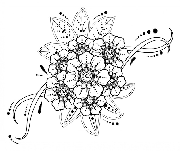 Mehndi flower decoration in ethnic oriental, indian style.
