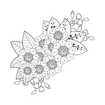 エスニックオリエンタル、インドスタイルの一時的な刺青の花の装飾。落書き飾り。アウトライン手描き。塗り絵のページ。