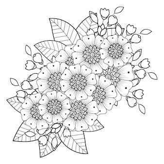 Цветочный декор менди в этническом восточном, индийском стиле. каракули орнамент. наброски рука рисовать иллюстрации. книжка-раскраска.