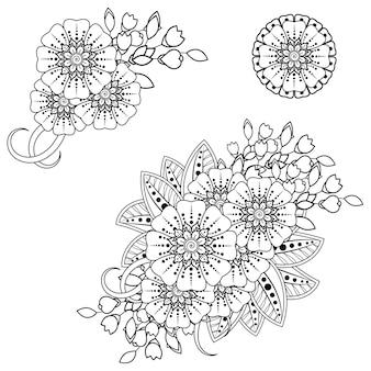 エスニックオリエンタル、インドスタイルの一時的な刺青の花の装飾。落書き飾り。アウトライン手描きイラスト。塗り絵のページ。