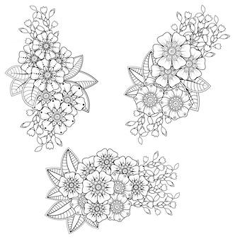 エスニックオリエンタル、インド風の一時的な刺青の花の装飾。飾りを落書き。概要手描きイラスト。