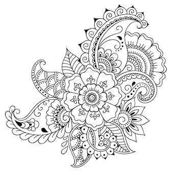 一時的な刺青の花。エスニックオリエンタル、インドスタイルの装飾。飾りを落書き。アウトライン手描きベクトルイラスト。