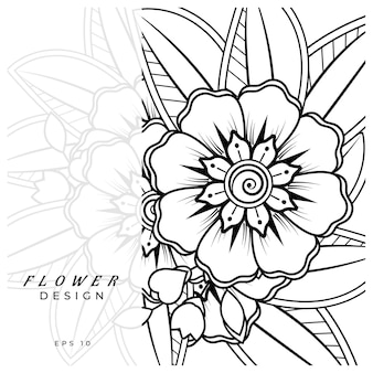 Mehndi flower decorative ornament in ethnic oriental style doodle ornament outline hand draw