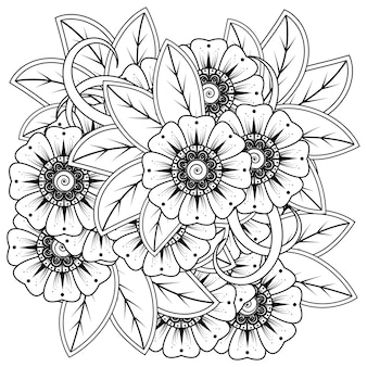 민족 오리엔탈 스타일 낙서 장식 개요 손으로 그리는 멘디 꽃 장식 장식