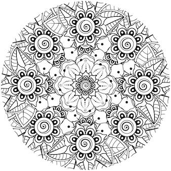 민족 동양 스타일 낙서 장식 개요 손으로 그리는 멘디 꽃 장식 장식