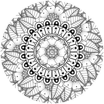 Менди цветочный декоративный орнамент в этническом восточном стиле каракули орнамент наброски рука рисовать