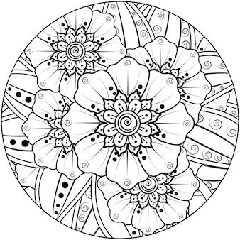 민족 동양 스타일의 멘디 꽃 장식 장식, 낙서 장식, 개요 손 그리기