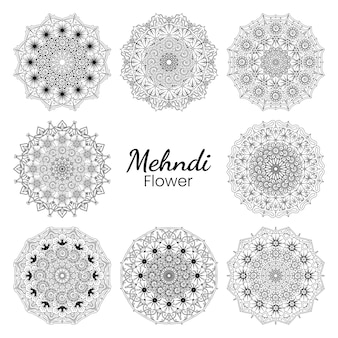 Mehndi flower   in ethnic oriental style doodle ornament outline hand draw illustration coloring book page