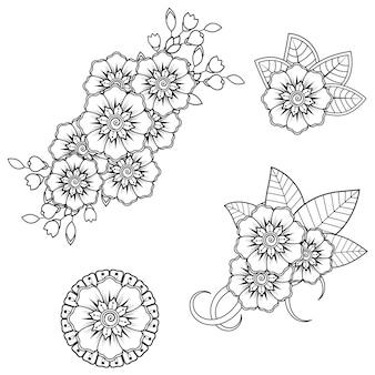 ヘナの一時的な刺青の花。落書き飾り。アウトライン手描きイラスト。