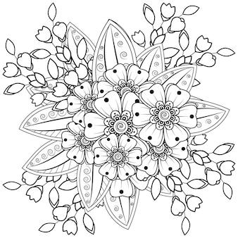 ヘナ落書き飾りの一時的な刺青の花