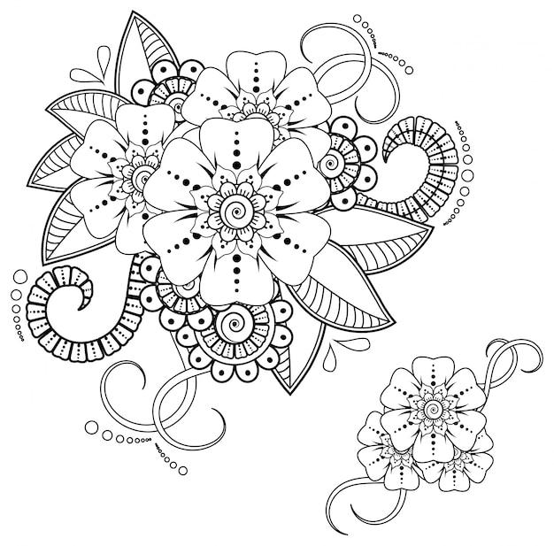 ヘナの描画とタトゥーの一時的な刺青の花。エスニックオリエンタル、インド風の装飾。