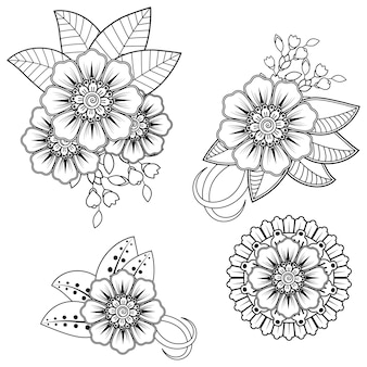 ヘナの描画のための一時的な刺青の花。エスニックオリエンタル、インドスタイルの装飾。