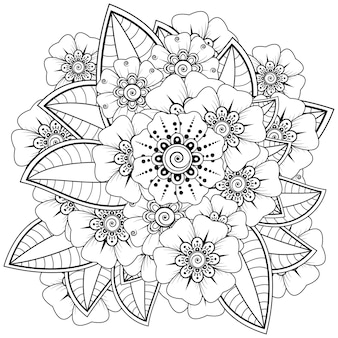 白で隔離されるヘナの一時的な刺青の花