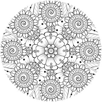 Раскраска цветок менди для украшения татуировки хной менди