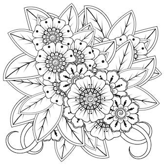 헤나 멘디 문신 장식을위한 멘디 꽃