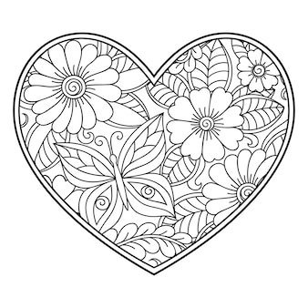 Mehndi flower in form of heart. decoration in ethnic oriental, indian style.