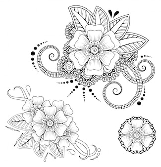 Mehndi flower for henna drawing and tattoo. decoration in ethnic oriental, indian style.