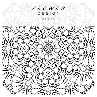 Mehndi flower for henna mehndi tattoo decoration coloring book page