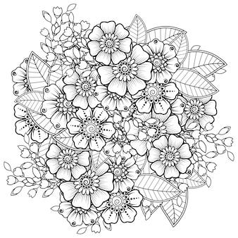 エスニックオリエンタルスタイルの一時的な刺青の花。落書き飾り。アウトライン手描きイラスト。塗り絵のページ。
