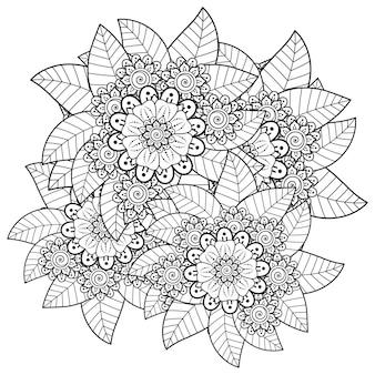 민족 오리엔탈 스타일의 멘디 꽃 낙서 장식 개요 손으로 그리는 그림 색칠하기 책 페이지