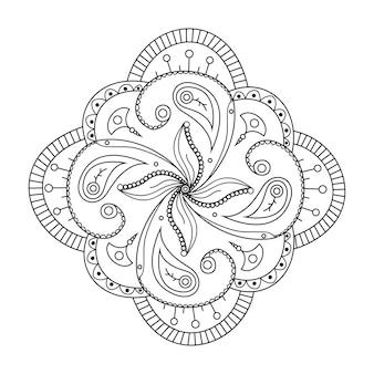 Mehndi flower ornament hand drawn tattoo mandala ethnic oriental floral doodle vector
