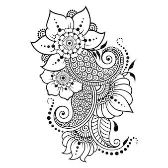 ヘナの描画とタトゥーのための一時的な刺青の花のパターンと曼荼羅。