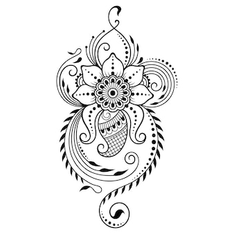 Mehndi flower pattern  . decoration in ethnic oriental, indian style. doodle ornament. outline hand draw   illustration.