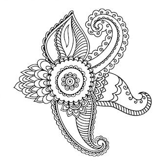 一時的な刺青の花のパターン。エスニックオリエンタル、インド風の装飾。落書き飾り。概要手描きイラスト。
