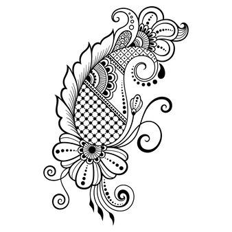 ヘナの描画とタトゥーのための一時的な刺青の花のパターン。エスニックオリエンタル、インドスタイルの装飾。落書き飾り。アウトライン手描きベクトルイラスト。