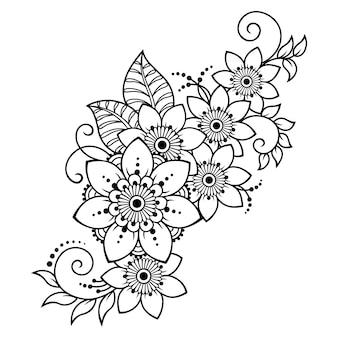 ヘナの描画とタトゥーの一時的な刺青の花のパターン。