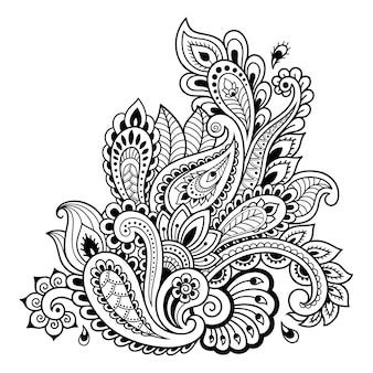 Менди цветочный узор для иллюстрации хны