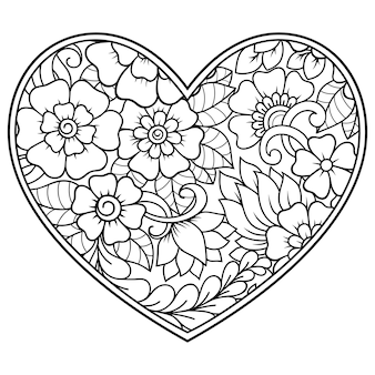Mehndi flower pattern in form of heart . decoration in ethnic oriental, indian style. coloring book page.