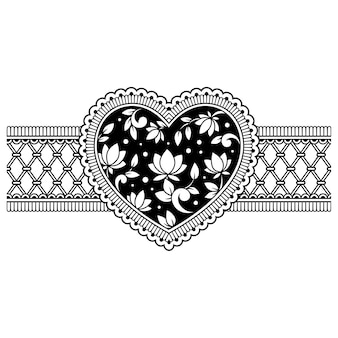 Mehndi flower pattern in form of heart for henna drawing and tattoo.