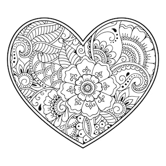Mehndi flower pattern in form of heart with lotus  . decoration in ethnic oriental, indian style. coloring book page.
