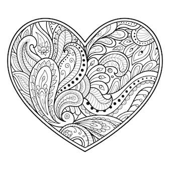 Mehndi flower pattern in form of heart with lotus . decoration in ethnic oriental, indian style.